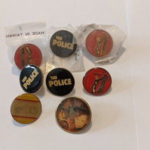 1980s Rock Button Lot Police Culture Club Blondie